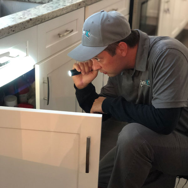zonex inspector examining under a sink with a flashlight